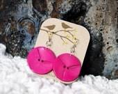 Hot pink dangle earrings