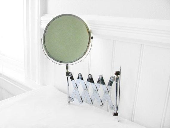 Vintage Makeup / Shaving Retractable Wall Mirror