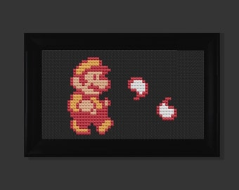Fire Mario cross stitch pattern PDF