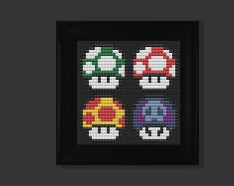 4 Mushroom (mario bros) cross stitch pattern PDF