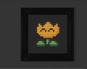 Fire flower (mario bros) cross stitch pattern PDF