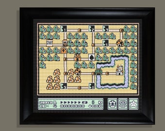 Mario world 1-grassland  cross stitch pattern PDF