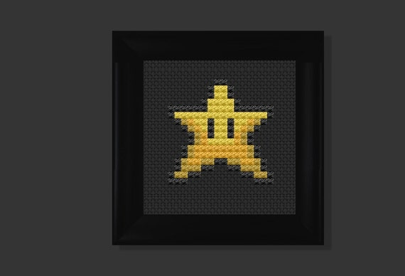 star (mario bros) cross stitch pattern PDF
