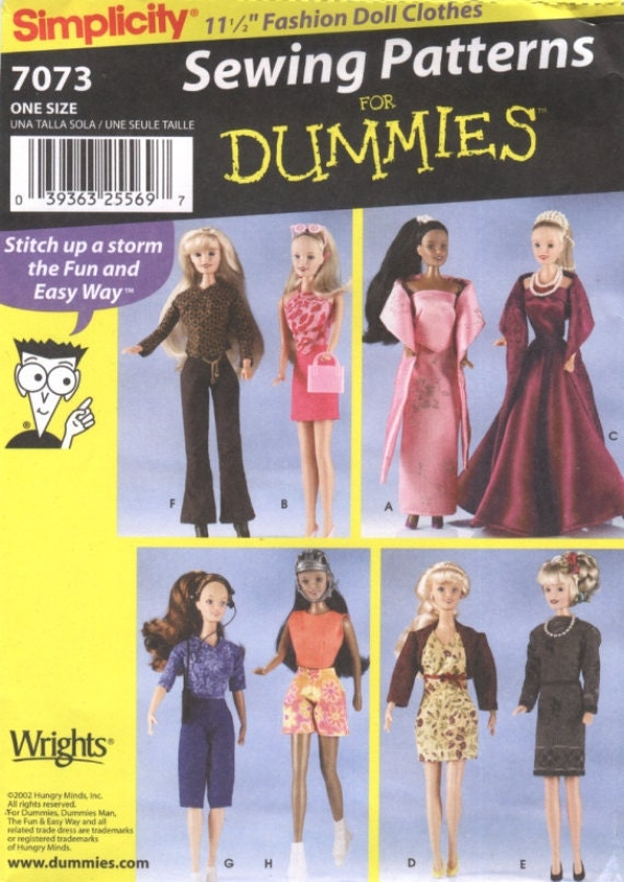 Simplicity Sewing Pattern 7073 11 1/2 in Doll Wardrobe