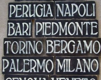 Custom Italian Sign Plaque You Pick CITY  Italy Hand Painted Rustic You Pick Color Wooden