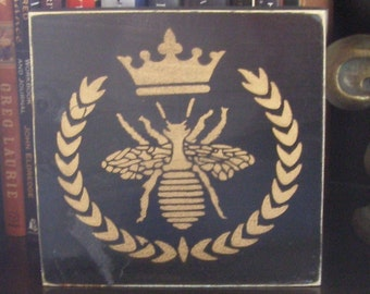 French Queen Royal Bee Sign Plaque Wall Hanging Wood U-Pick Color Apiary Beekeeper Honey