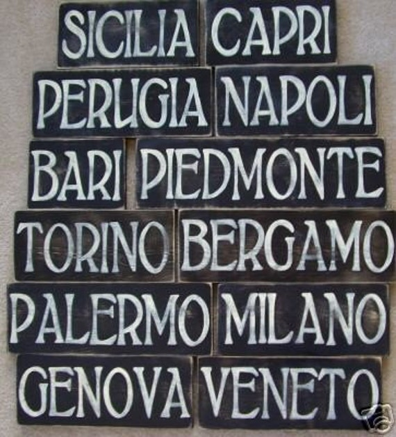 Painted You Italy signs CITY Rustic  Pick  Plaque Custom Hand Italian rustic  italian Sign You