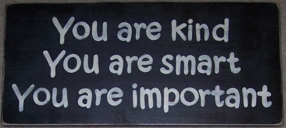 You Are Kind Smart Important Kids Room Decor Wall Wood