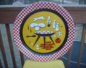 Vintage 1950s Barbeque Rockin Red Check Platter