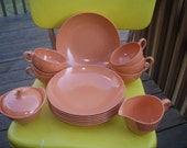 Vintage Terracotta Colored Melmac Cups and Bowls
