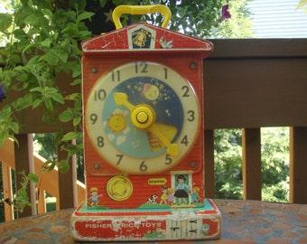 Vintage Fisher Price Toy Teaching Clock Music Box 998