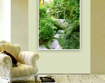 "Photography 8"" x 10"" Modern Wall Art Decor Feng Shui Green Spring "" Water Fall Rainy Rocks Fish / Sketches from Kyoto""  Office Decor Zen"