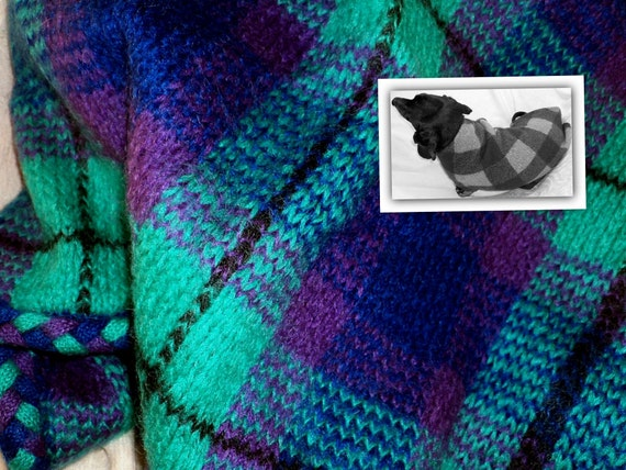 Mohair dachshund sweater Custom Made jumper teal plaid small dog