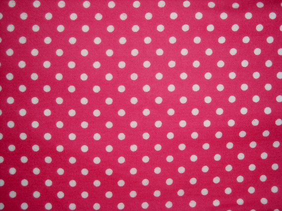 SALE Hot Pink & White Polka Dot Flannel Cotton Fabric 14  inches