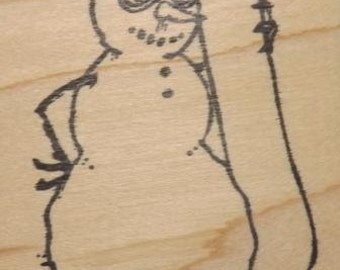 Snowman with Snowboard - Wood Mounted Rubber Stamp