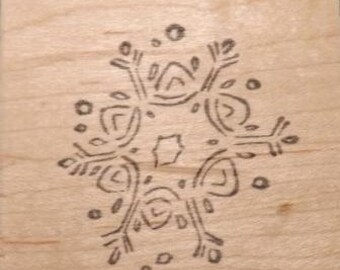 Snowflake - Wood Mounted Rubber Stamp