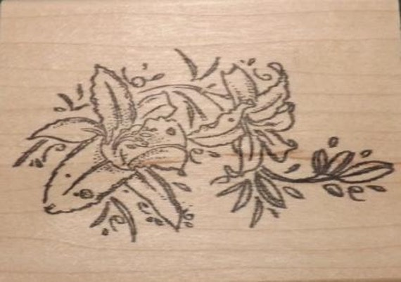 Small Day Lilies - Wood Mounted Rubber Stamp