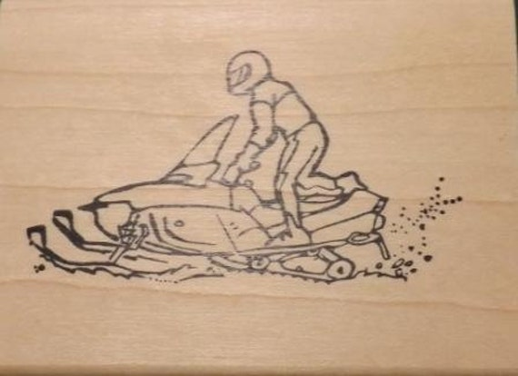 Snowmobile Side View  - Wood Mounted Rubber Stamp