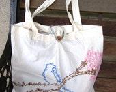 Scribbled Bluebird and Sakura Tote