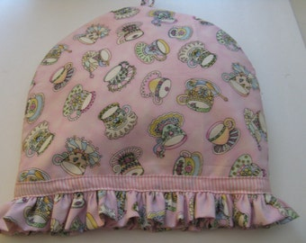 Tea Pot Cozy With Ruffle Pink Print