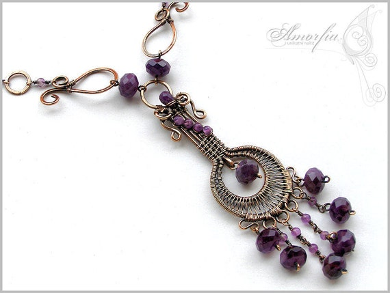 Purple amethyst and bronze wire wrapped necklace- Alzena