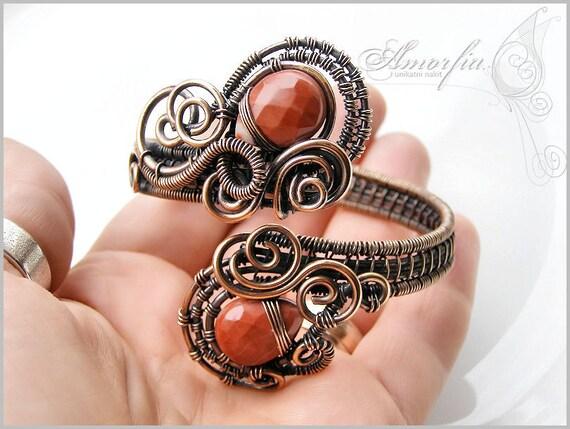 Wire wrapped cuff bracelet- red jasper and bronze wire
