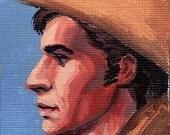 ACEO Cowboy Profile ORIGINAL painting