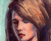 ACEO oil painting of pretty girl original