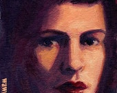Lily original oil painting 5x7 inches face of girl in purples blues and burgundy