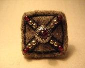 Felt and Garnet OOAK Needle Felted Ring Embroidered Ethnic Boho Elegant Ancient-style Eco