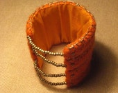 FELTED BRACELET Orange Grey Wool Felt Bracelet Eco Ethnic Tribal Recycled Silk