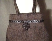 FELTED BAG Wet Felted Brown Eco Ethnic Tribal Unique Recycled