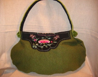 WOOL BAG Boiled Wool Green Eco Embroidered Antique Boho Unique Folk Recycled