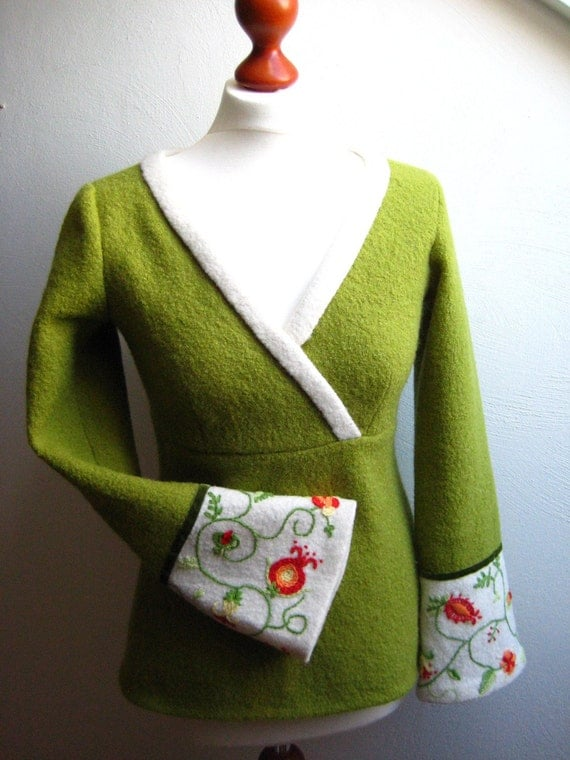 Unique Eco Sweater With Embroideries Natural Boiled Wool