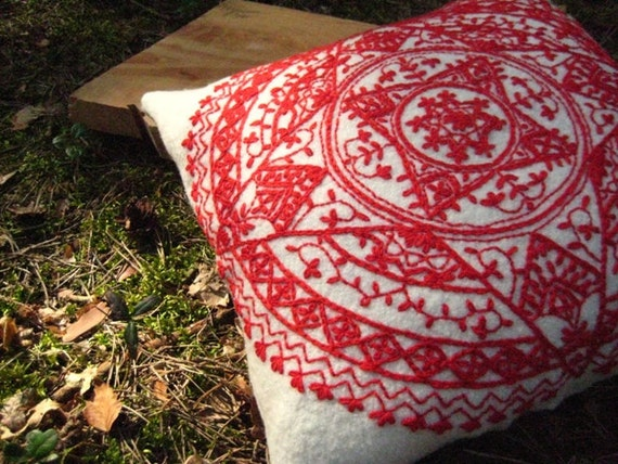 Wool Pillow Cover White Red Embroidered OOAK Eco Boiled Wool