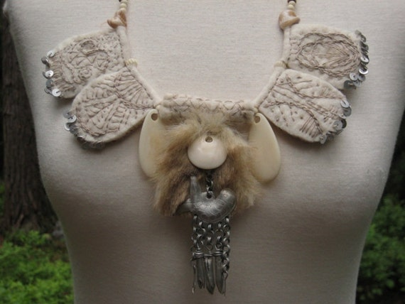 WHITE SNOW SHAMAN Hand felted necklace Bone Embroidery Ethnic Tribal