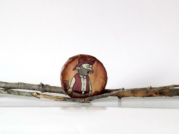 Cowboy brooch, sale, paper mache jewelry, brown, eco friendy, recycled comics book, back to school