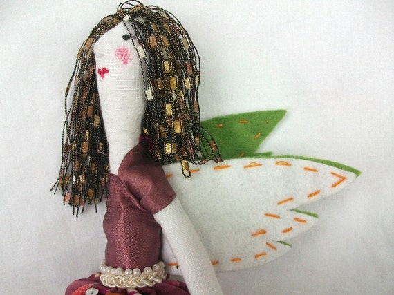 Mulberry Pink Cloth Angel / Art Doll - Silk & Linen fabric with green white felt Wings and Vintage Button made for Dreamers