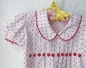 Red and White Polka dot Dress, Cotton with Pouf Sleeves, size 2T or 3T, Vintage