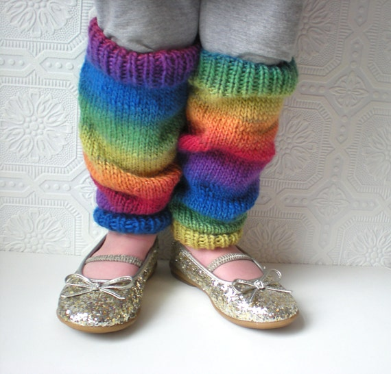 Baby Leg Warmers, Over the Rainbow, Knit with Luxury Yarn, Toddler Leg Warmers