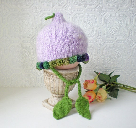 Baby Hat, Flower Fairy, Lavender with Green Poms and Leaves, Toddler Hat