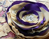 Purple and Cream Color Wedding Flower Hair Clip/Brooch Made Of Satin, Lace, Pearls/Beads, Silver Tone Rhinestones