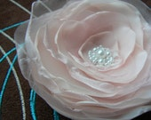 Blush Pink Bridal Flower Hair Clip/Brooch Made Of Polyester Fabric, Organza, Lace, Beads