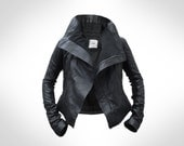 Womens Black Leather Biker Jacket by J.O.D (Small)