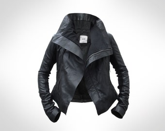 Custom Black Leather Biker Jacket by J.O.D