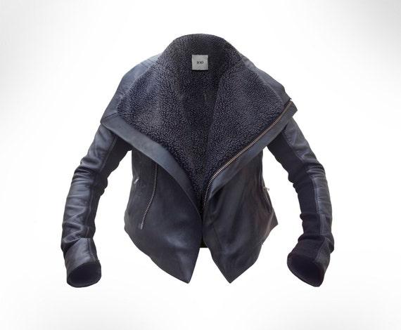 DEPOSIT Black Leather Biker, shearling Jacket by J.O.D   UK10