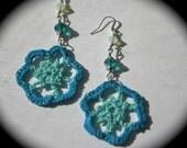 Teal crochet beaded earrings