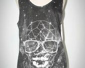 Skull Star Black and White Tank Top Sleeveless Punk Rock T-Shirt Size M