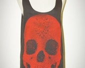 Crystal Diamond Skull Halloween Charcoal Black And Red Print Tank Top Sleeveless Women Art Punk Rock T-Shirt Size S