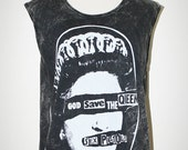 Sex Pistols God Save The Queen Bleached Black Sleeveless Indie Punk Rock T-Shirt Size L